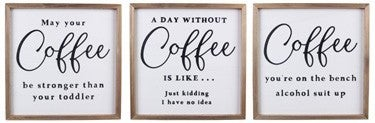 WOOD COFFEE WALL SIGN (3 ASSORTED)
