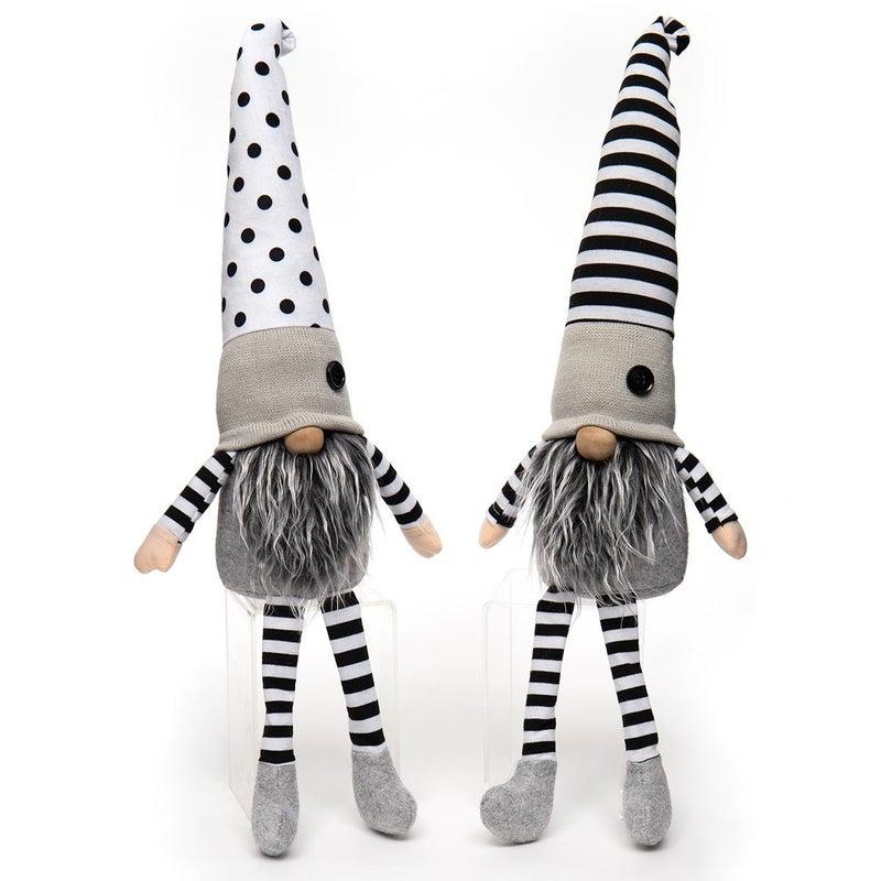 """Gnome 22"""" Black & White Stripes/Polka Dots (2 Assorted)"""