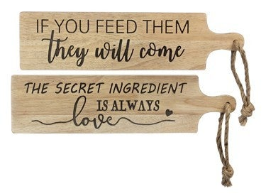 Wood Paddle Wall Sign w/ Rope Hanger (Assorted styles)