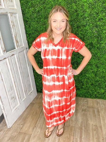 Wavy Coral Maxi Dress