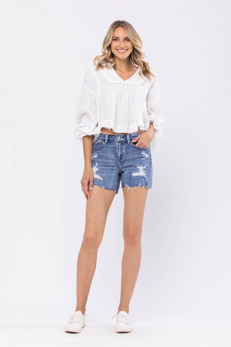 Judy Blue Lace Patch Destroy Shorts