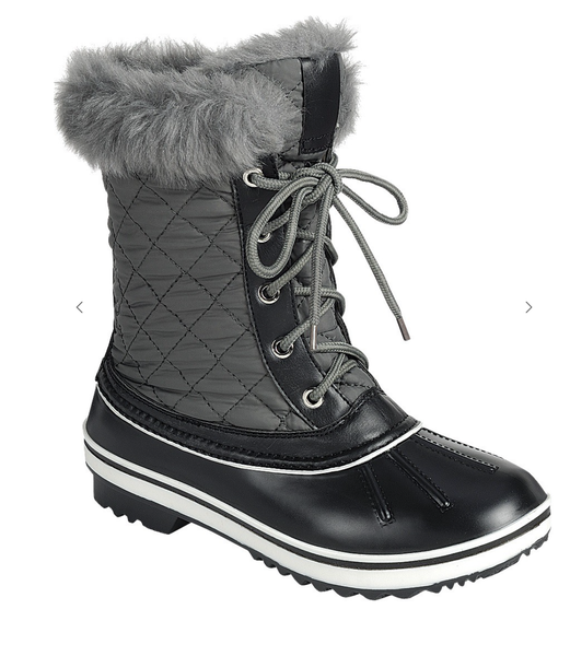 Gray Fur Cuff Weather Proof Duck Boots