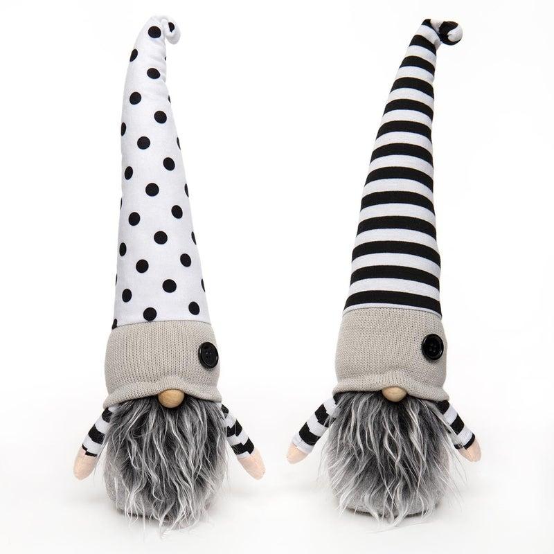 """Gnome 16"""" Black & White Stripes/Polka Dots (2 Assorted)"""