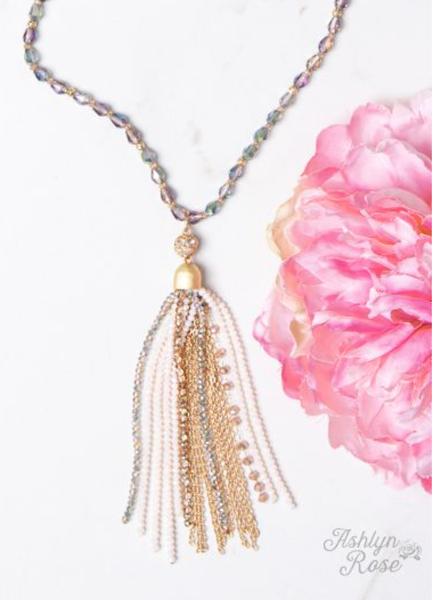 Shining Crystal Tassel Necklace
