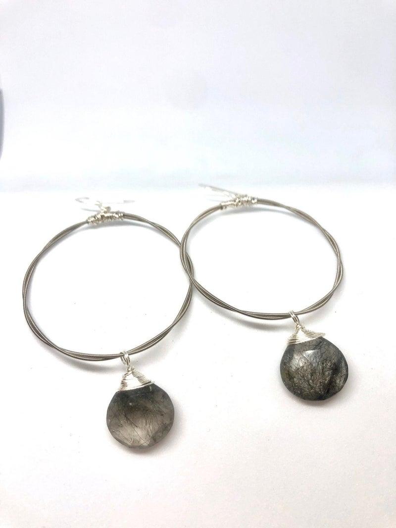 Silver Briolette Hoop