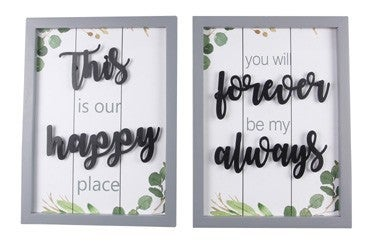 WOOD FRAMED TABLETOP SIGN WITH METAL CUTOUT LETTERING (2 ASSORTED)