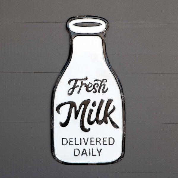 Metal Fresh Milk Bottle Sign