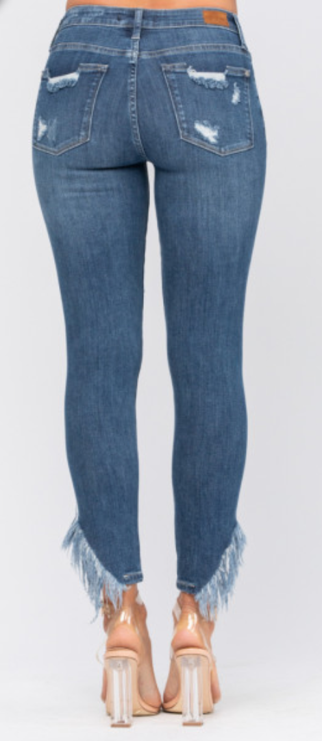 Judy Blue Asymmetric Frayed Hem Skinny