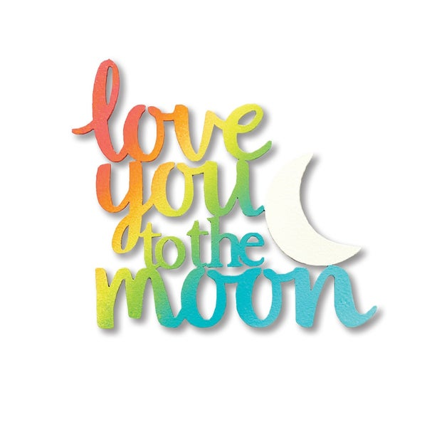 Love You to the Moon magnet Rainbow