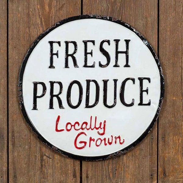 Fresh Produce Metal Sign