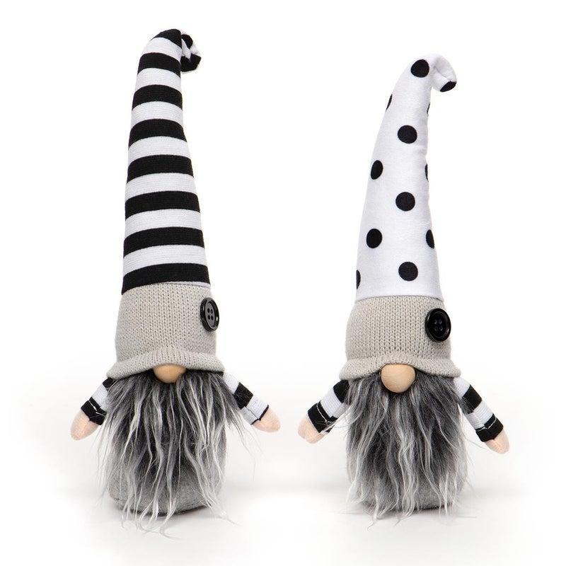 "Gnome 10"" Black and White Stipes/Polka Dots (2 Assorted)"