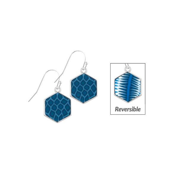 Navajo Blue Rhodium Hexagon Reversible Earrings