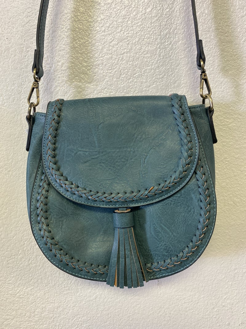 Penelope Saddle Bag w/ Braided Detail Flap over and Snap/Zip Closure