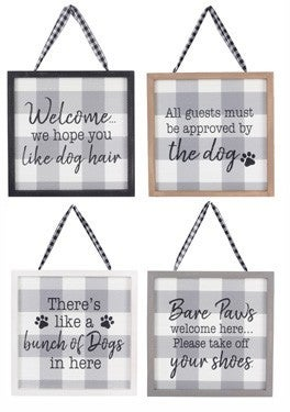 WOOD FRAMED GRAY AND WHITE PLAID DOG WALL SIGN (4 ASSORTED)
