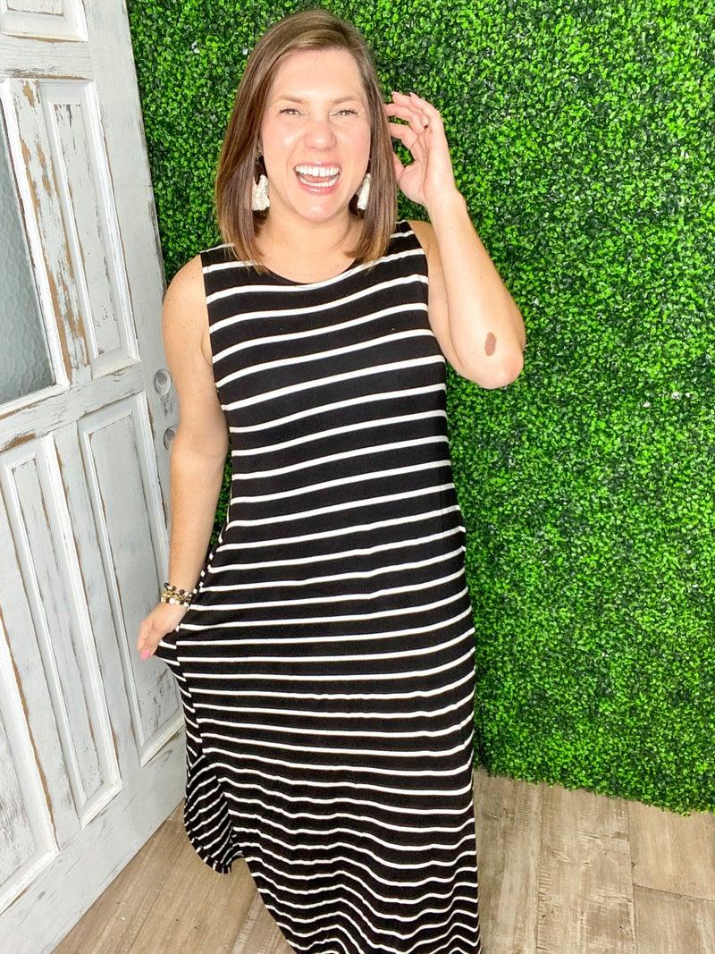 Striped Sleeveless Side Slits Maxi Dress