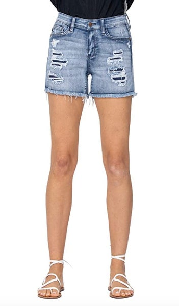 Judy Blue Mid-Rise Patch + Wash-Out Cutoff Shorts