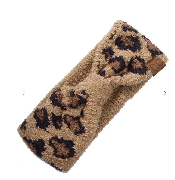 C.C Leopard jacquard knit headwarp