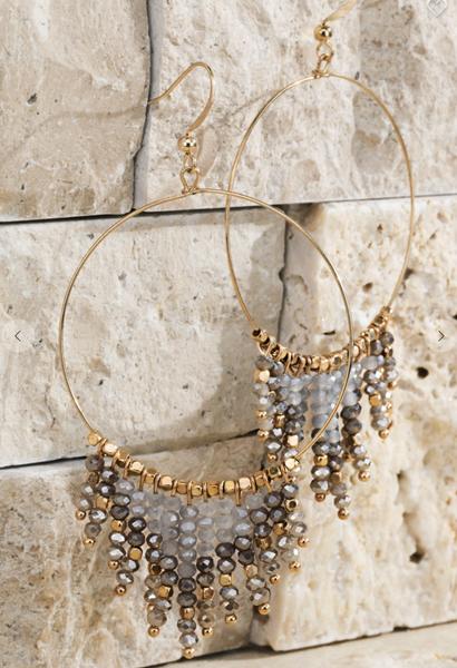 Beaded Tassel And Ring Earrings