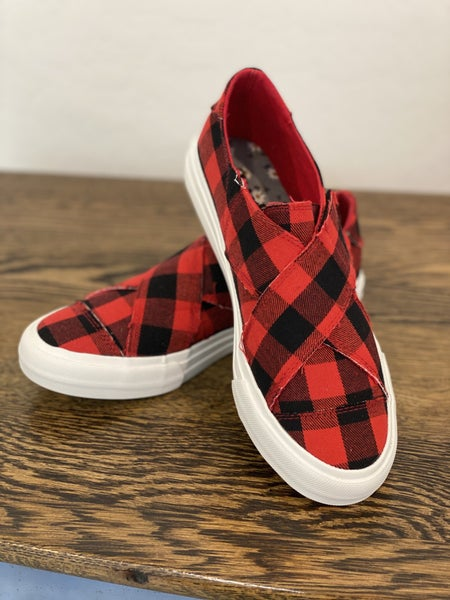 Gypsy Jazz Red Plaid Sneakers w/ Criss Cross Velcro