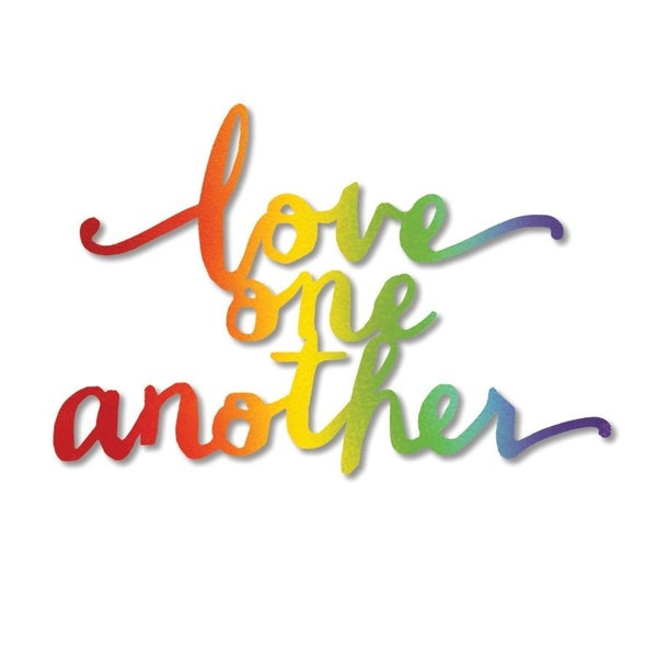 """""""Love One Another"""" script magnet Rainbow"""