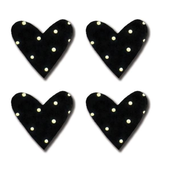 Heart Magnets Black Polka Dots S/4