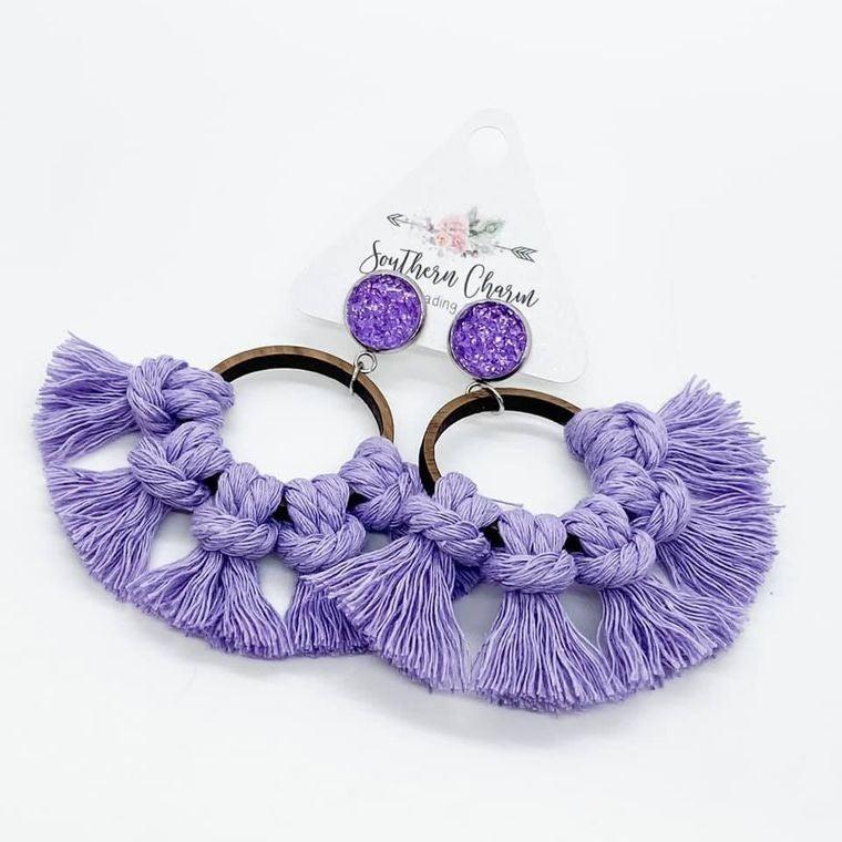 Spring Hoop Macramé Earrings (Multiple Color Option)