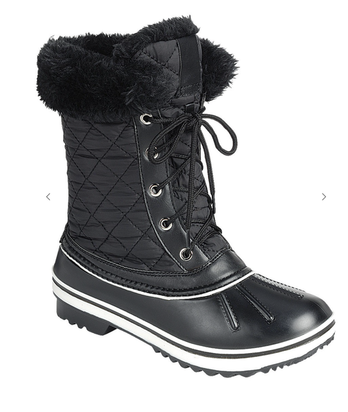 Black  Fur Cuff Weather Proof Duck Boots