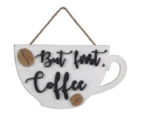 Wood Coffee Mug Shape Wall Sign
