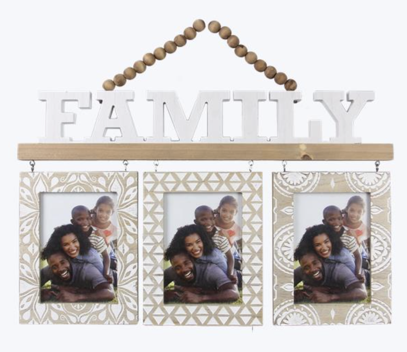 WOOD FAMILY WALL HANGING 5X7 TRIPLE PHOTO FRAME WITH BEAD HANGER