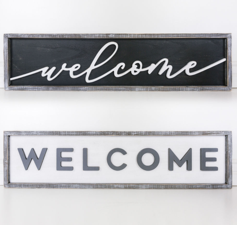Double Sided Welcome Sign