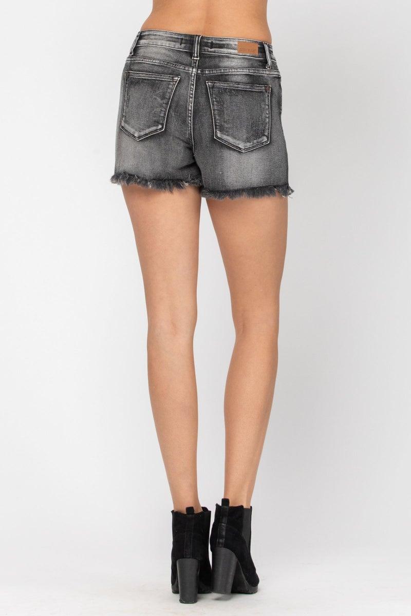 Judy Blue Frey Hem Cutoff Shorts (Dark Gray)