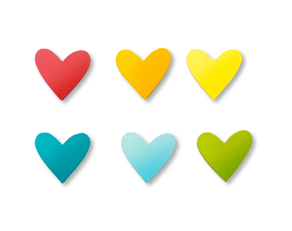 Heart Magnets Spring Rainbow S/6