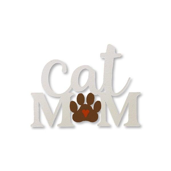 Cat MOM w /Paw Print Magnet