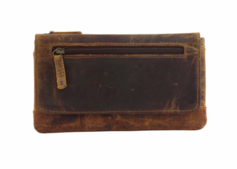 ZIPPER FRONT LEATHER AND HAIRON WALLET