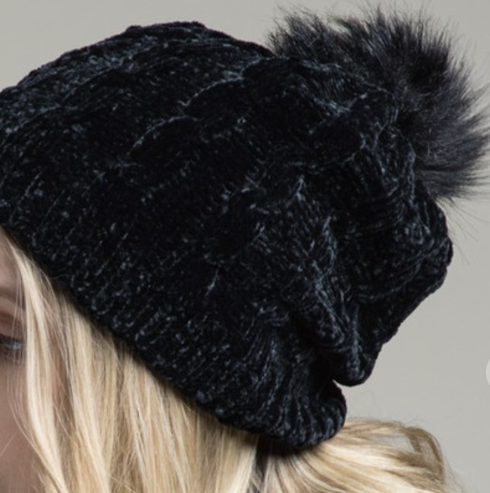 Chenille Cable Knit Beanie