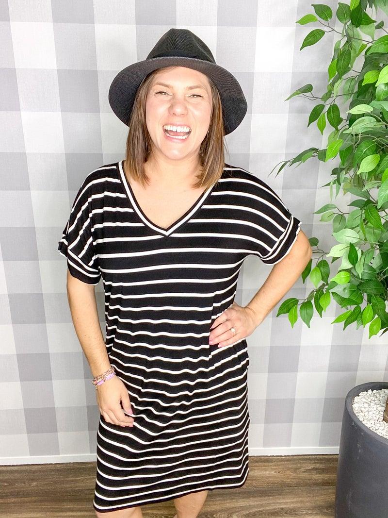 Striped Rolled Short Sleeve V-Neck Dress