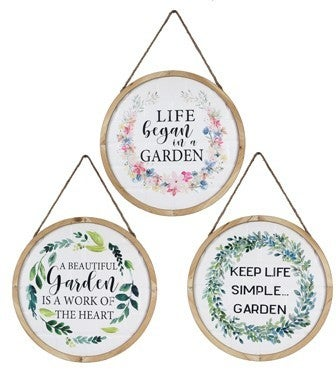 WOOD/METAL SPRING WALL SIGN (3 ASSORTED)