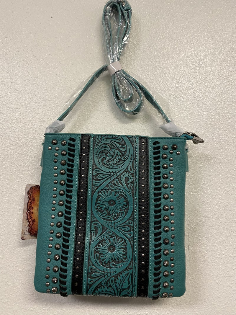 Stamped & Studded Turquoise Crossbody