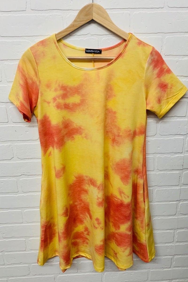 Orange Tye Dye T-Shirt Dress