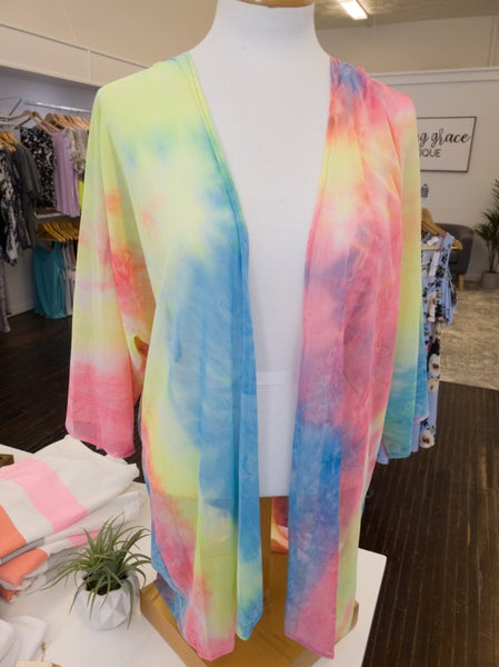 Rainbow Tie Dye Kimono