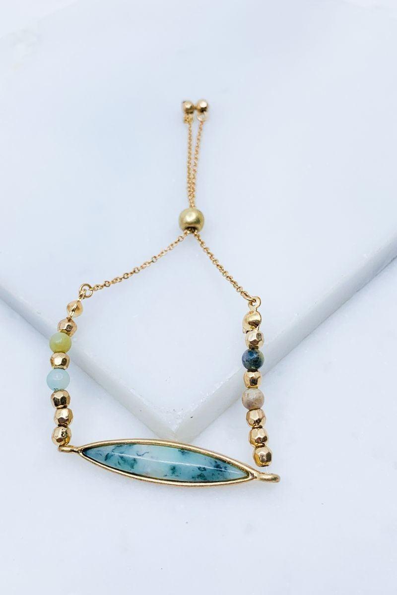 Oblong Semi Precious stone adjustable bracelet