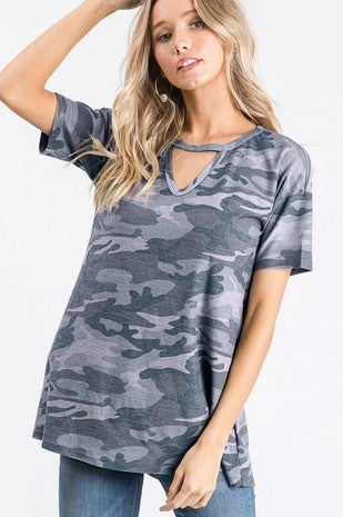Camouflage keyhole top