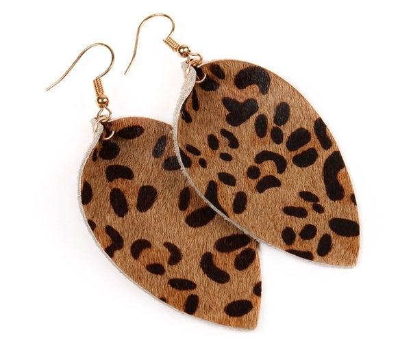 Pinched Leopard Teardrop Earrings