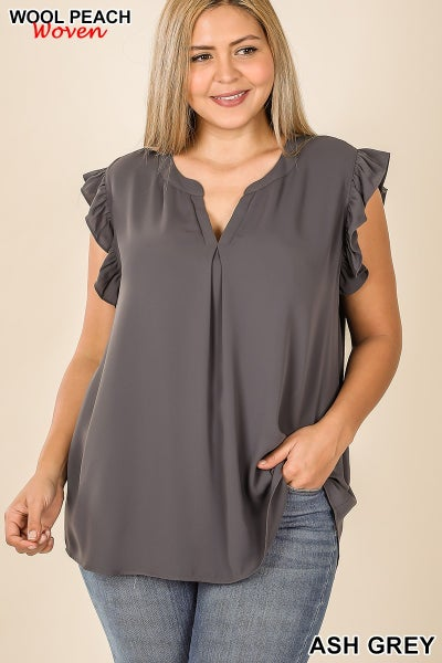 Woven Wool Peach Ruffled Sleeve Top-Ash Grey