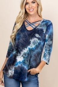 Navy Tie Dye criss cross top