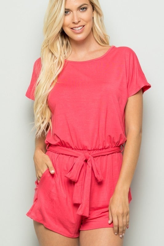 Solid romper with belt
