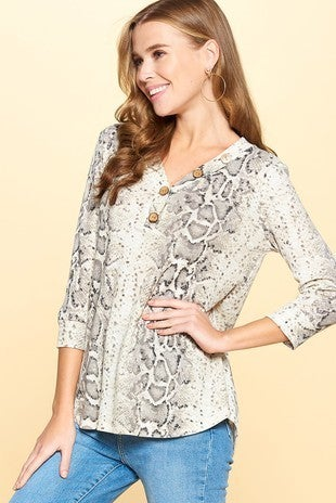 Snakeskin top with buttons