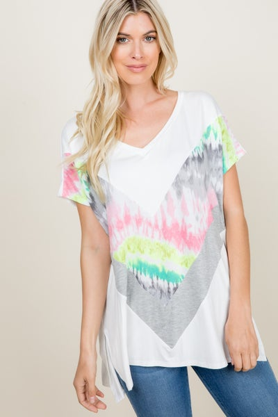 Tie dye color block top