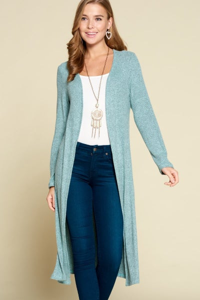 Icy Blue Brush Ribbed Duster