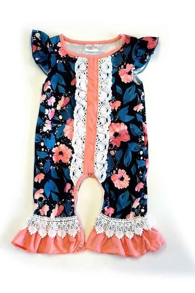 Floral romper with lace detail